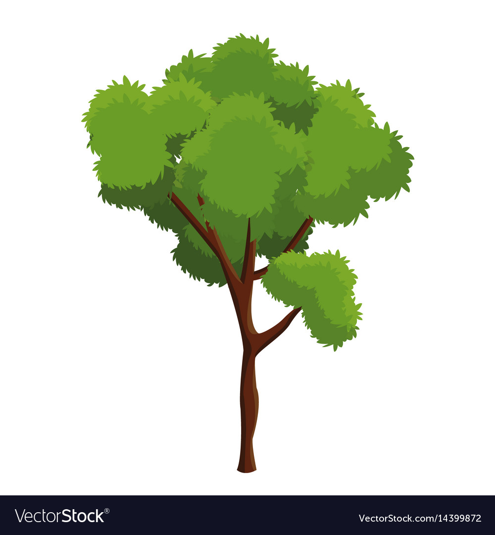 Cartoon Tree Plant Natural Forest Royalty Free Vector Image Snowy mountain decorated with garlands. vectorstock