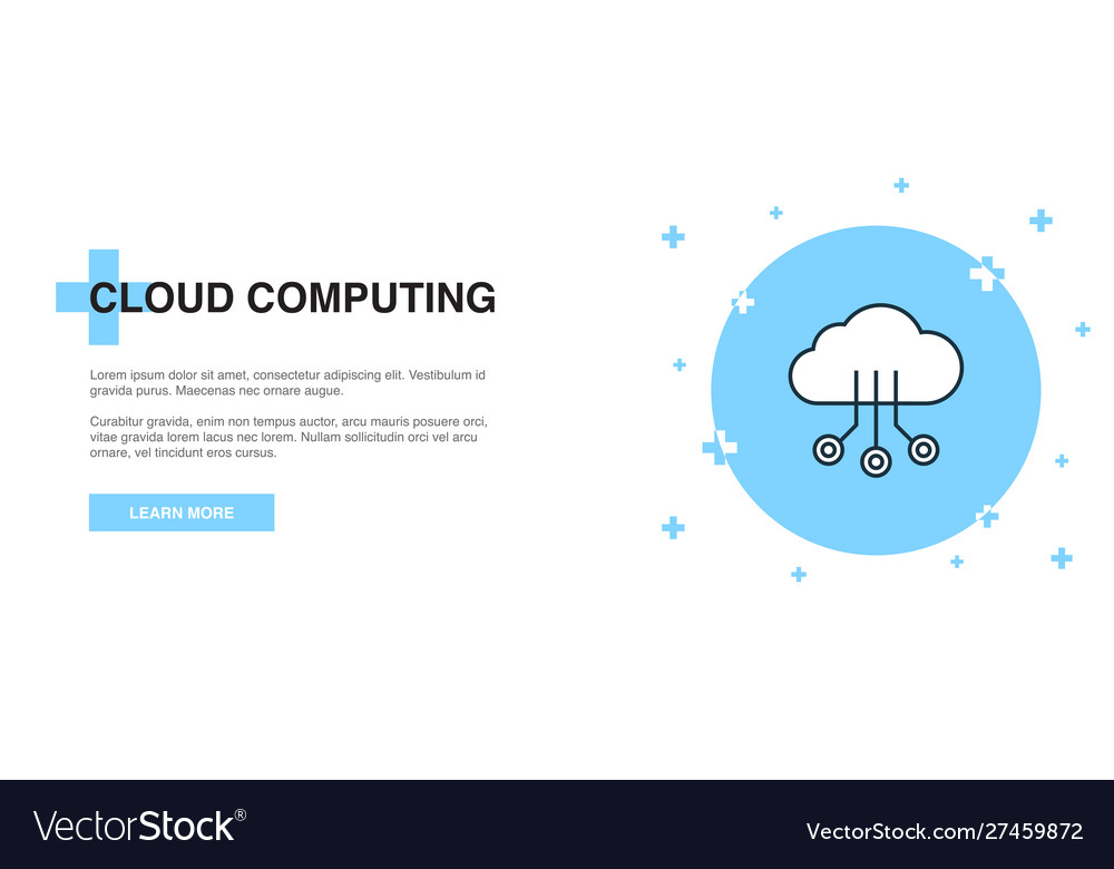 Cloud computing icon banner outline template