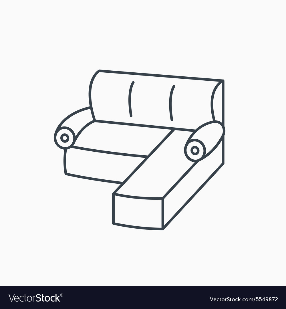 Corner Sofa Icon Comfortable Couch Sign Royalty Free Vector