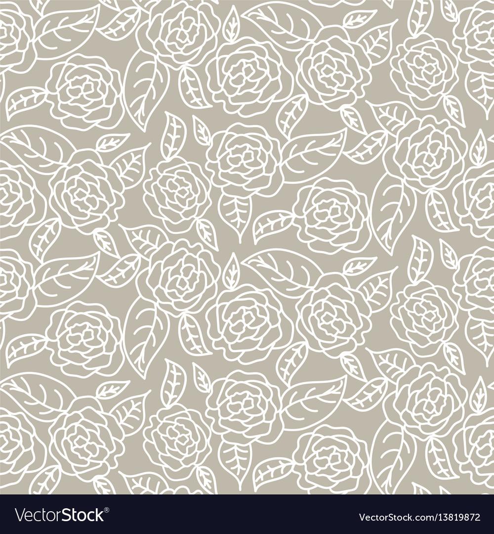 Drawn line rose wedding seamless pattern vector image