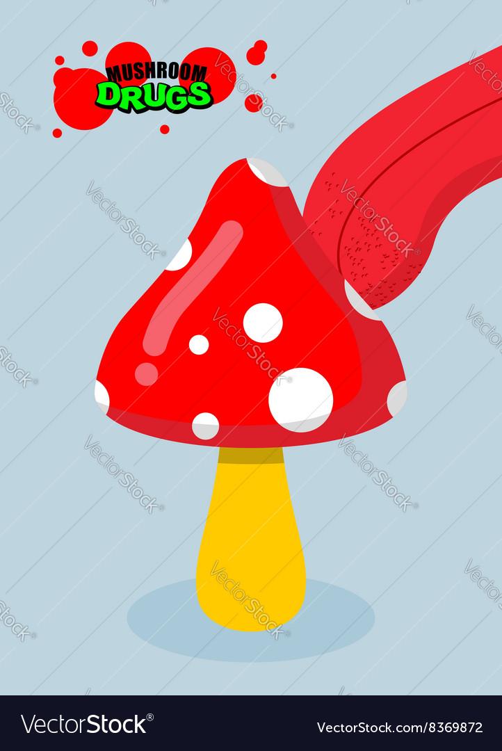 Drugs amanita Acid fungus Drug food Tongue licking vector image
