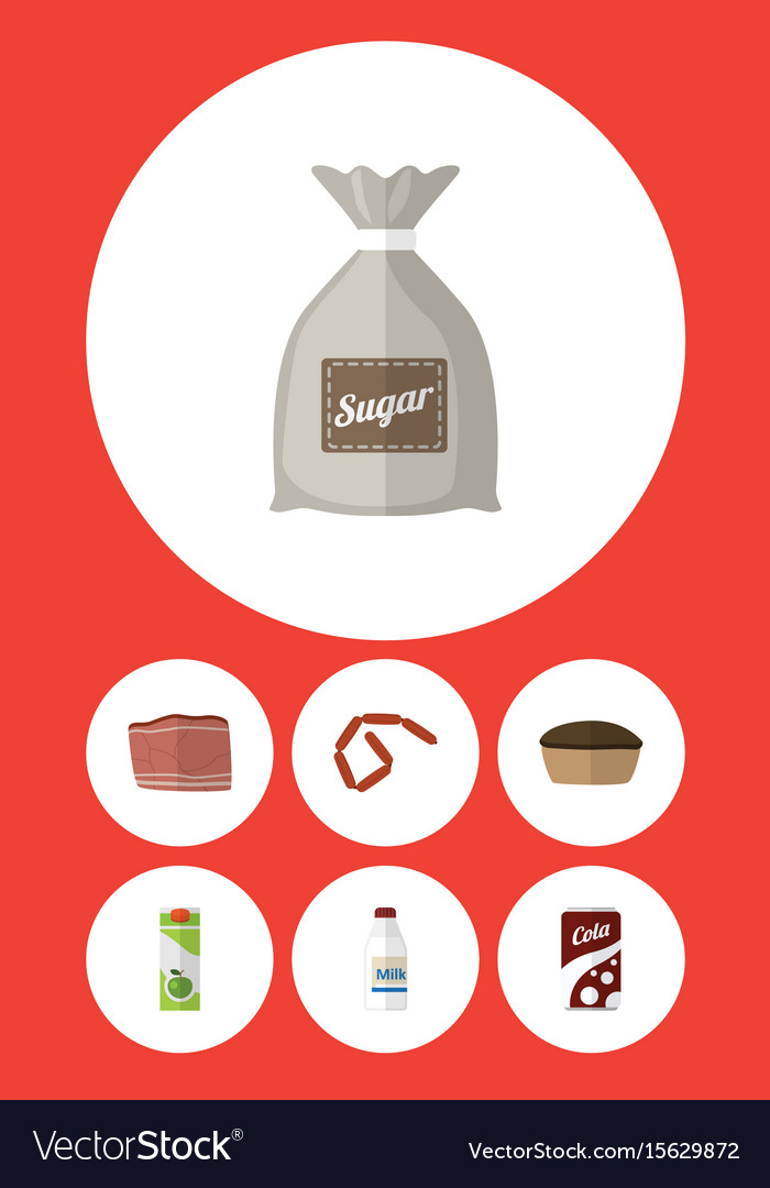 Flat icon food set of beef tart packet beverage vector image