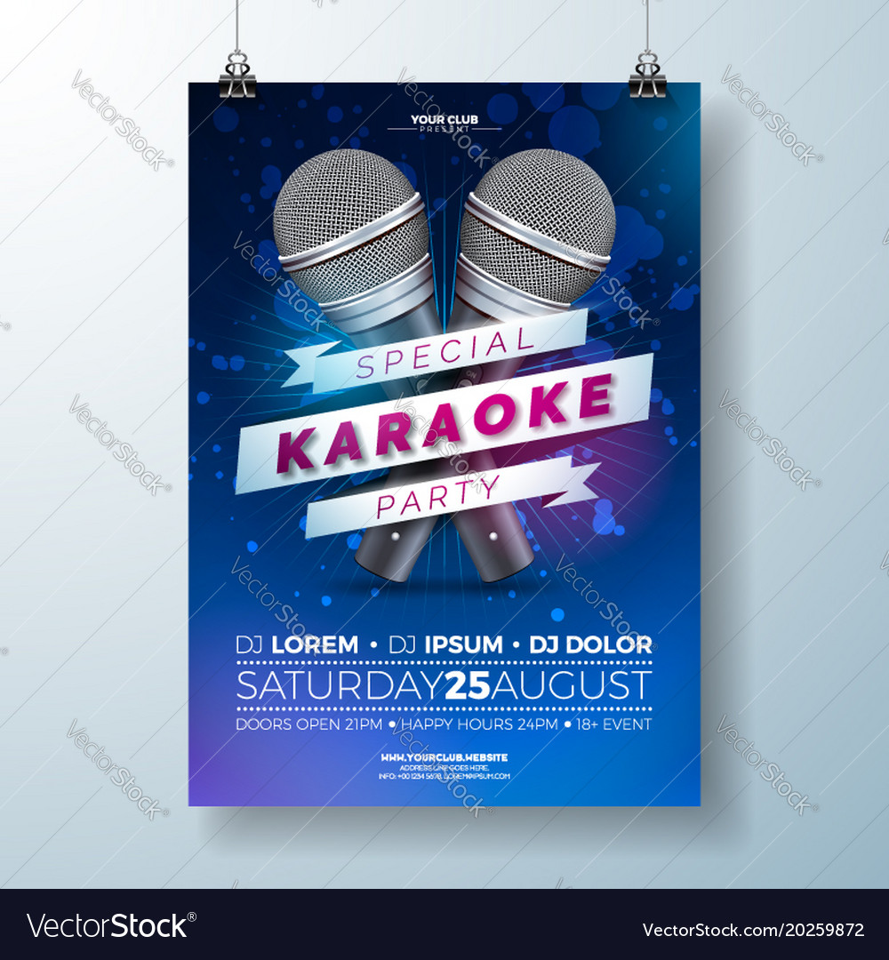 Flyer on a karaoke party theme vector image