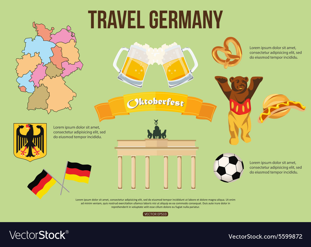 Germany travel background with place for text Set