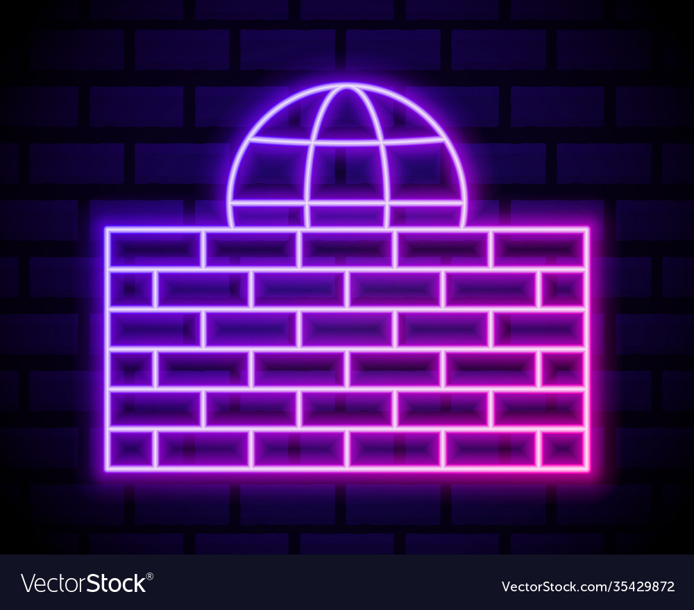 Glowing neon line firewall security wall icon