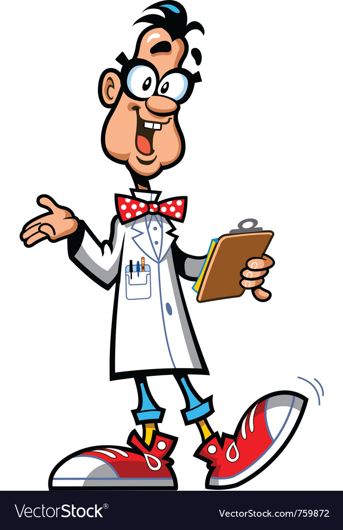 Happy cartoon professor scientist