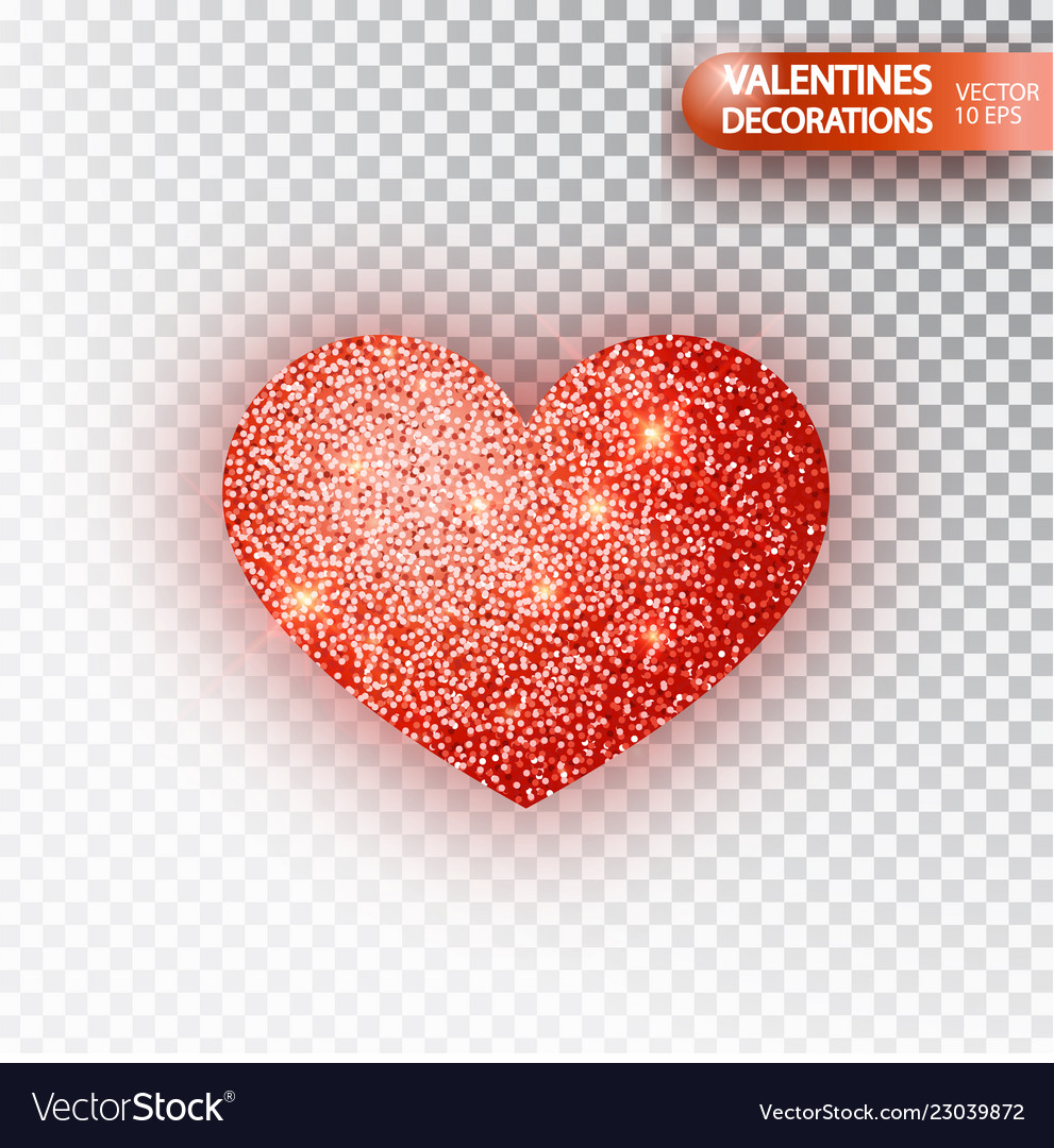 Heart red glitter isoleted on transparent