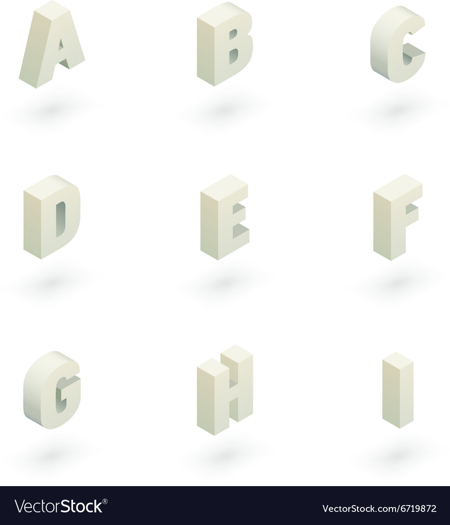 Isometric letters a to i