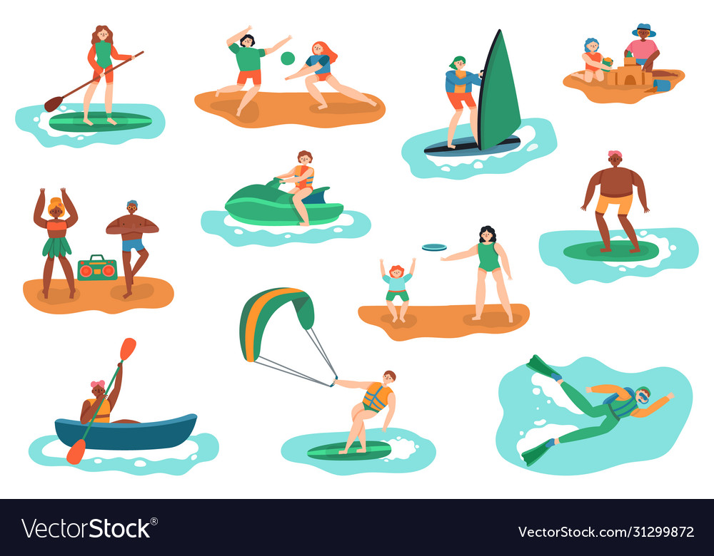 Sea outdoor activities water and beach sports