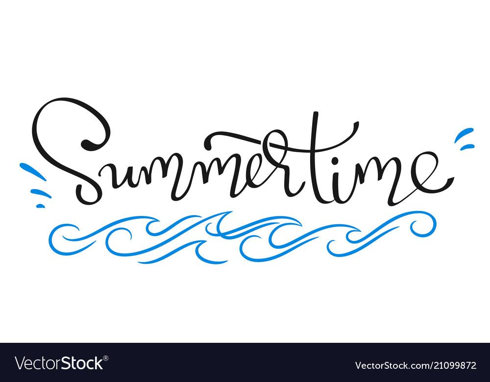 Summertime - handwritten lettering word