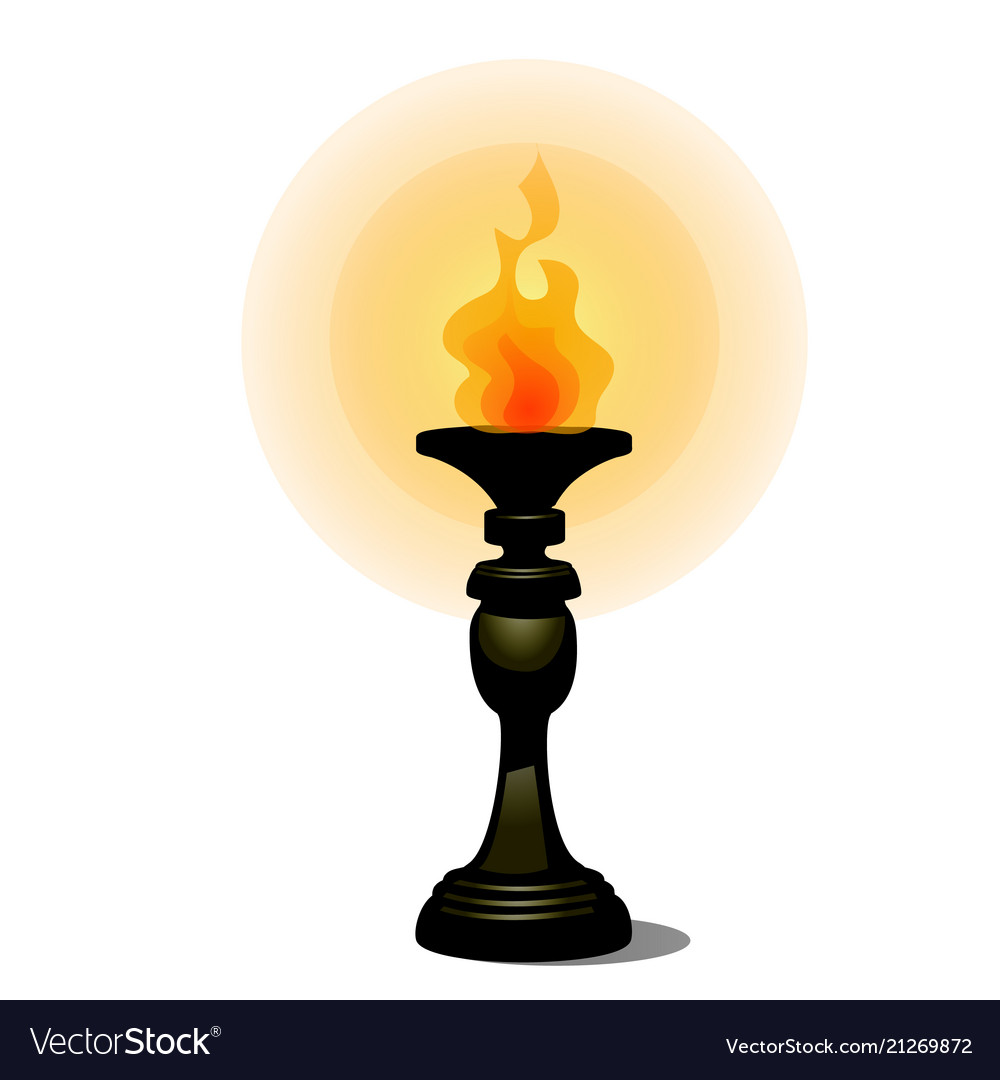 Vintage burning torch on stand facing the floor