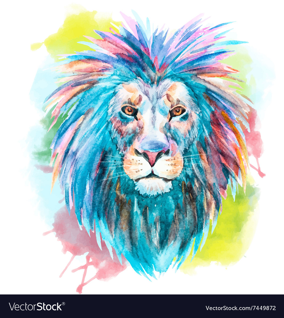 Lion Head Watercolor Vector Images 60 Realistic lion outline (page 1). vectorstock