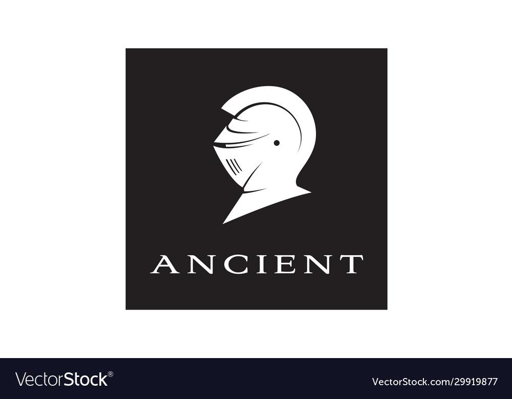 Ancient knight templar warrior armor helmet logo