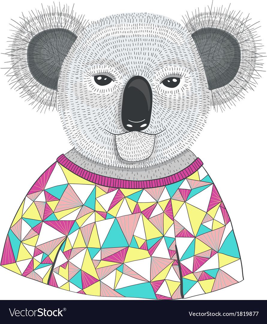 Cute hipster koala vector image