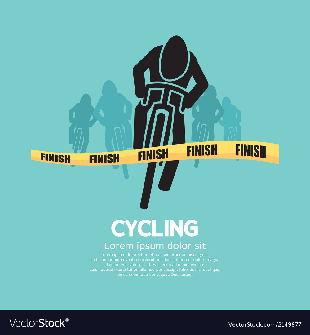 Cyclist At Finish Line vector image