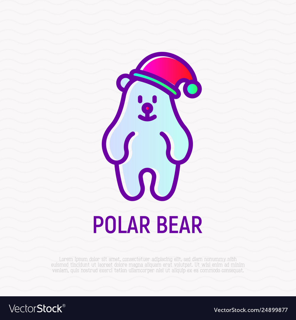 Funny polar bear in christmas hat thin line icon