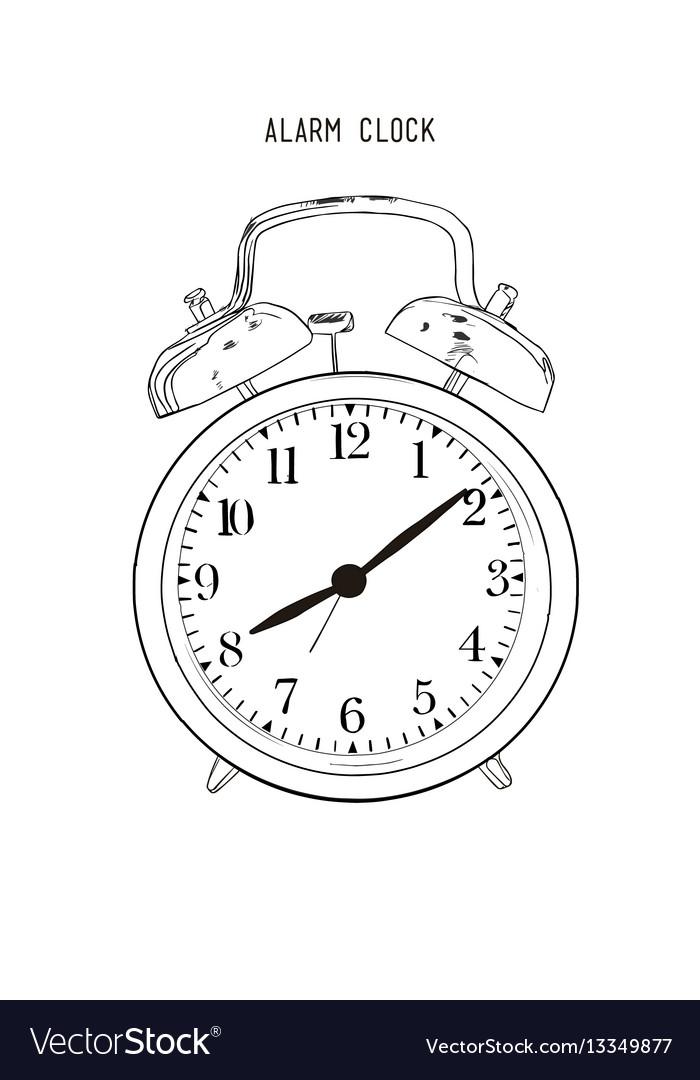Hand drawn sketch alarm clock vector image