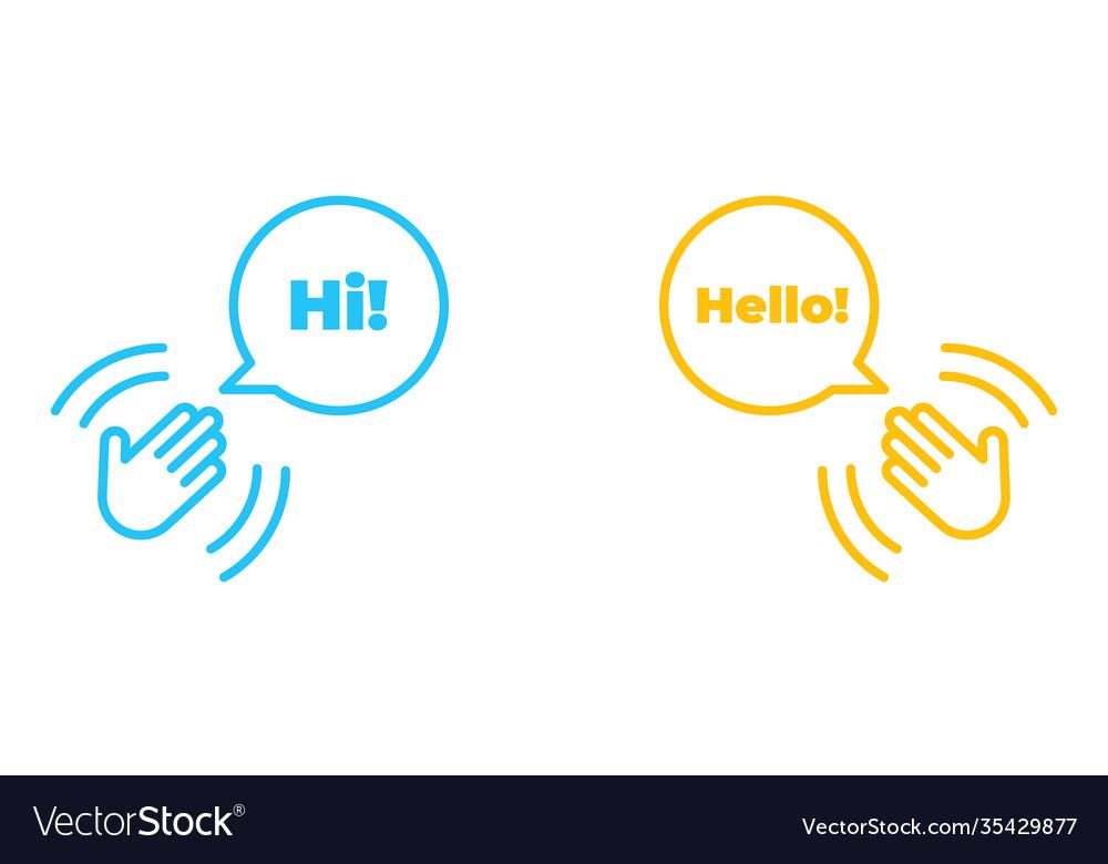 Hand wave or waving hi or hello gesture line art