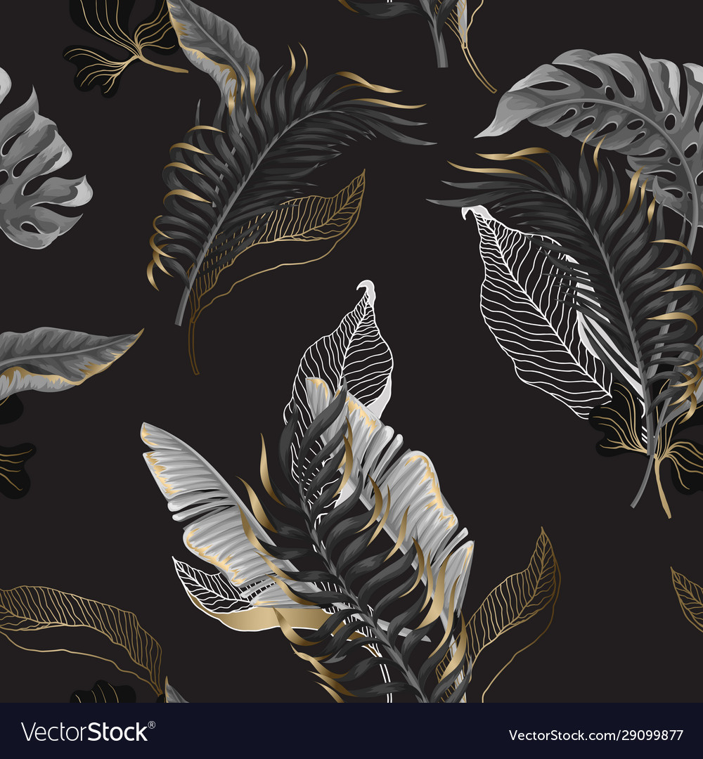 Seamless pattern with black and white tropical