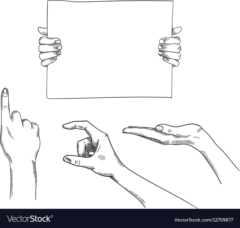 Set of hand-drawn holding pointing hands vector image