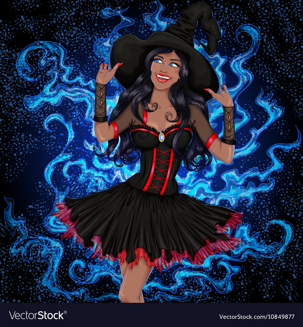 Sexy african witch with long hair in a hat vector image