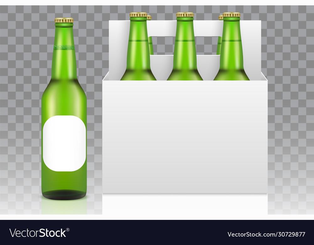 Six Pack Beer Mockup Realistic Royalty Free Vector Image