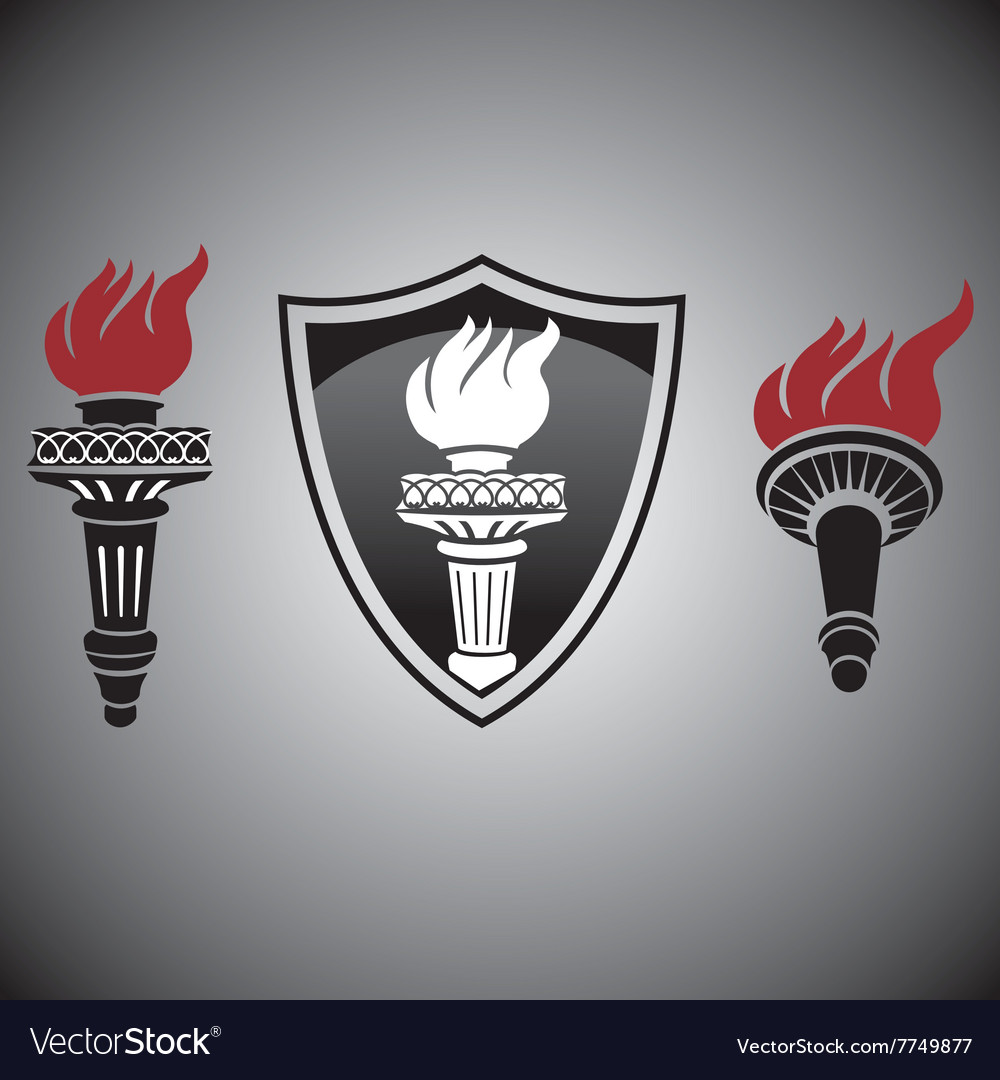 Torch with fire signs and symbols