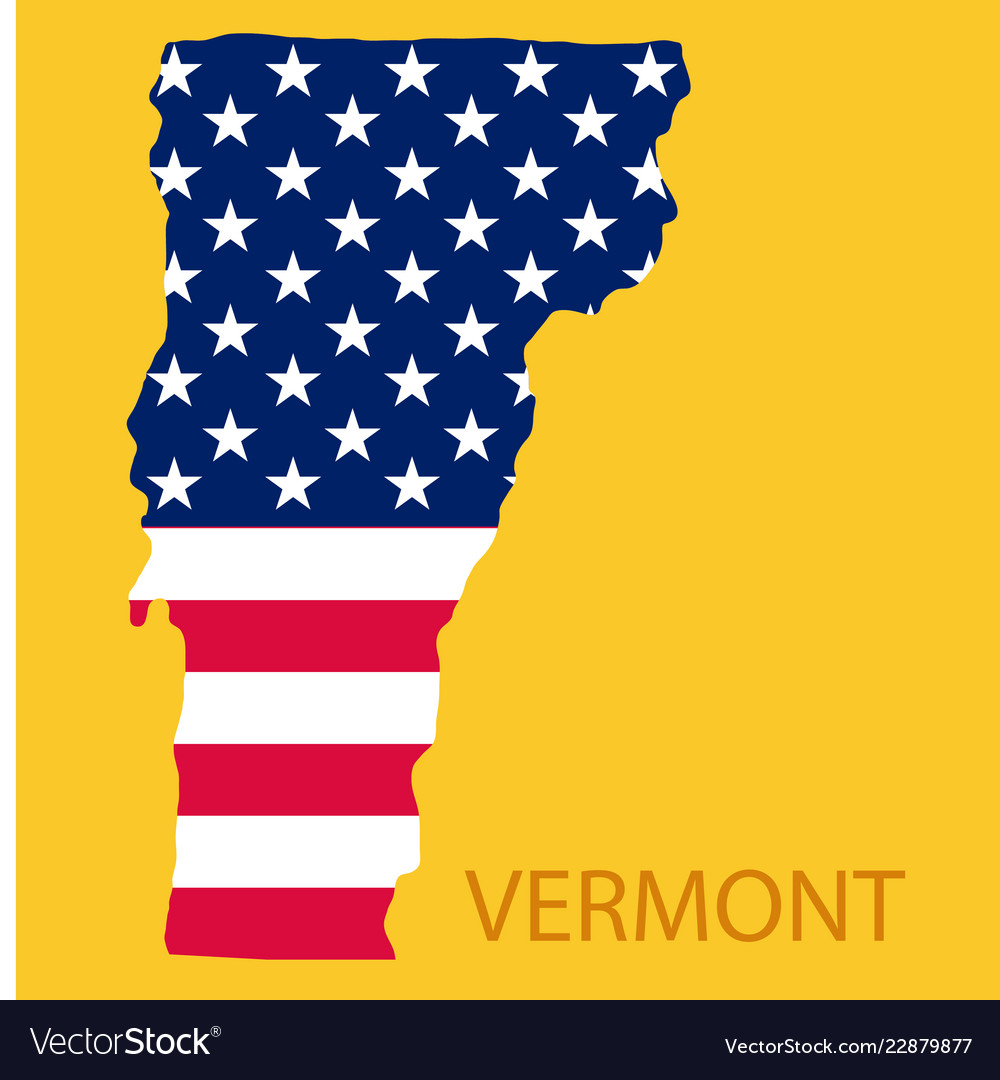 Map Of America Vermont.Vermont State Of America With Map Flag Print On Vector Image On Vectorstock