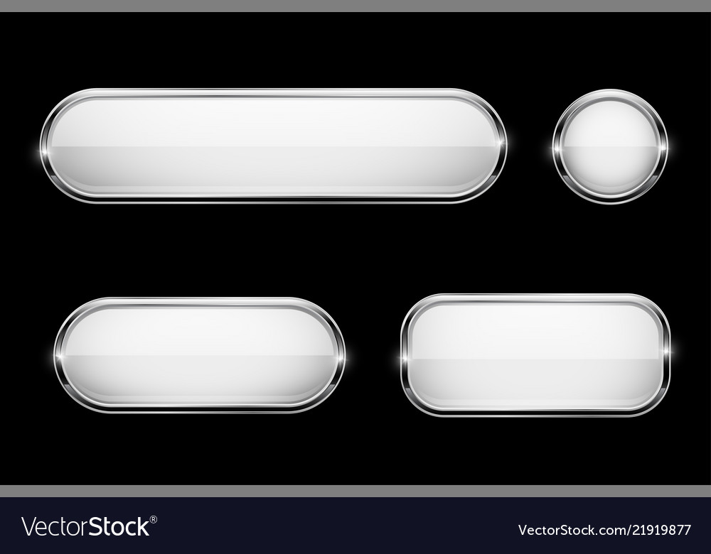 White glass buttons with chrome frame on black
