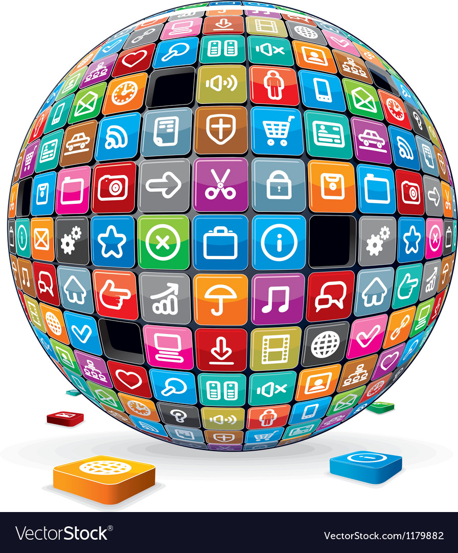 Abstract Sphere with Application Icons Image