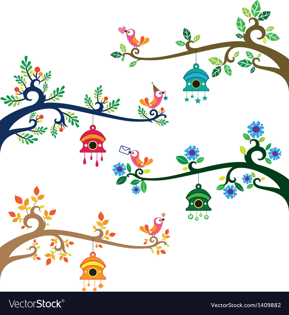 Collection of bird on branch in various of seasons vector image