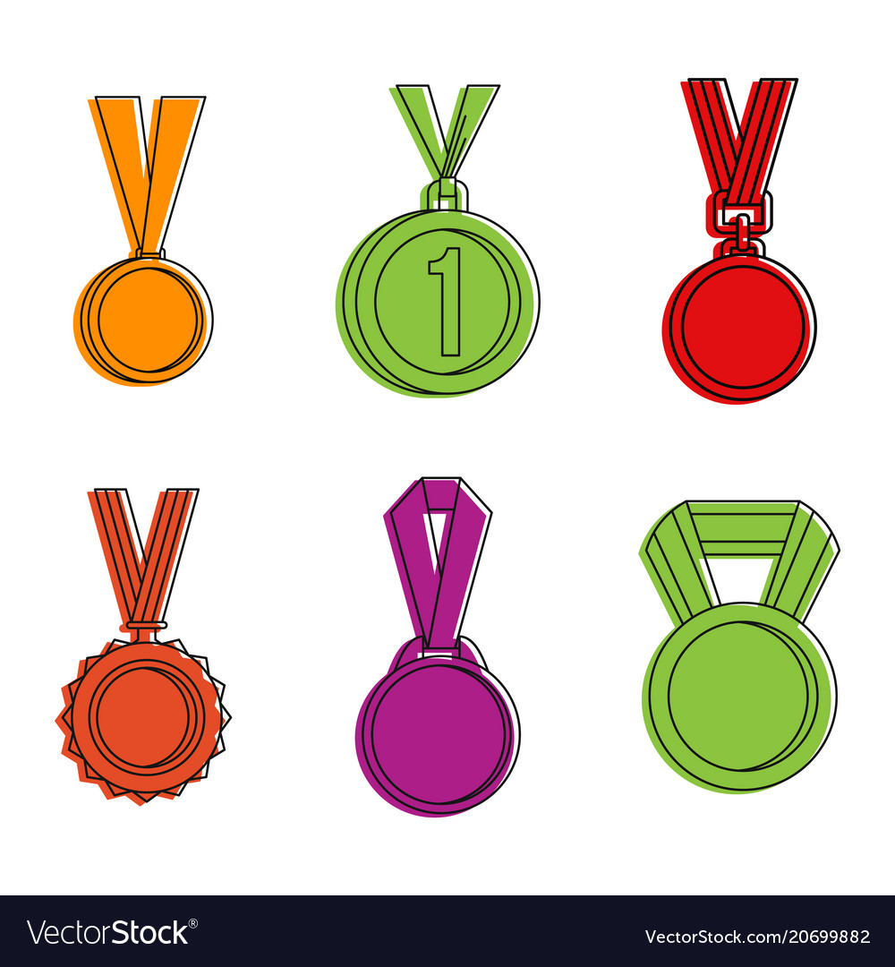Gold medal icon set color outline style