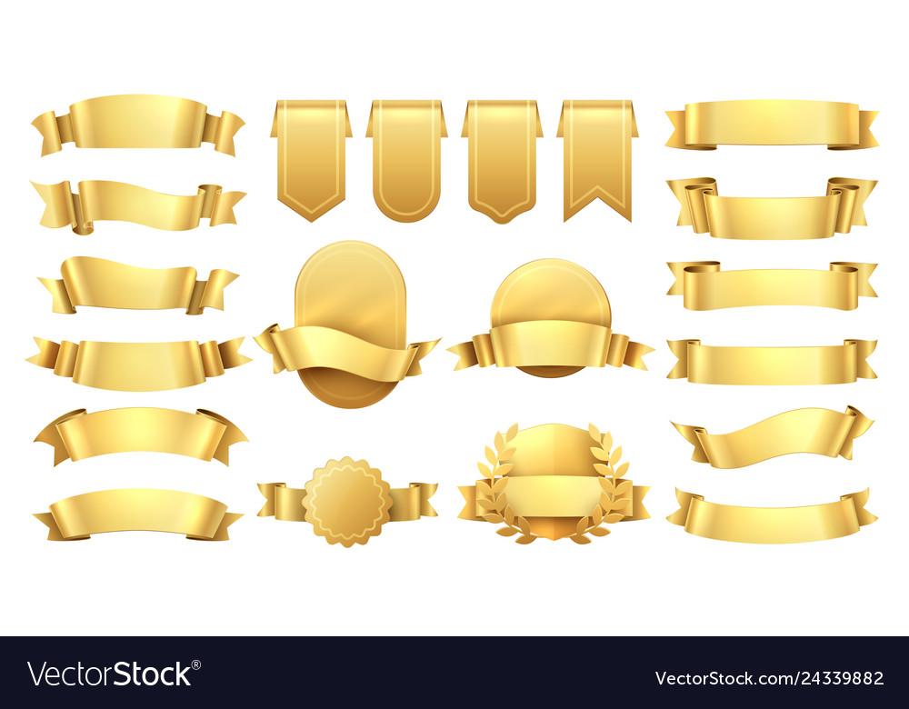 Golden ribbons shiny old labels wave banner