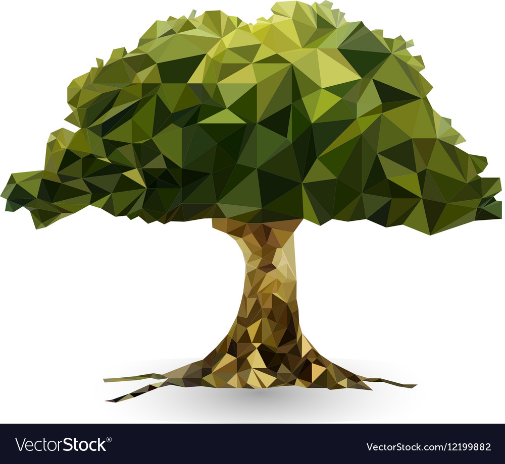 Green tree in a triangular style