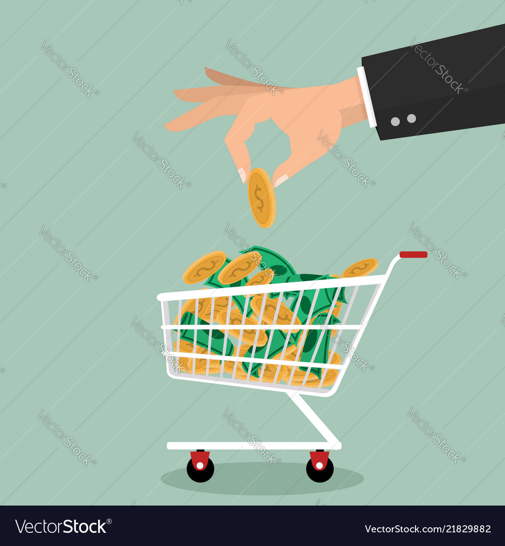 Hand putting coin shopping cart money savings
