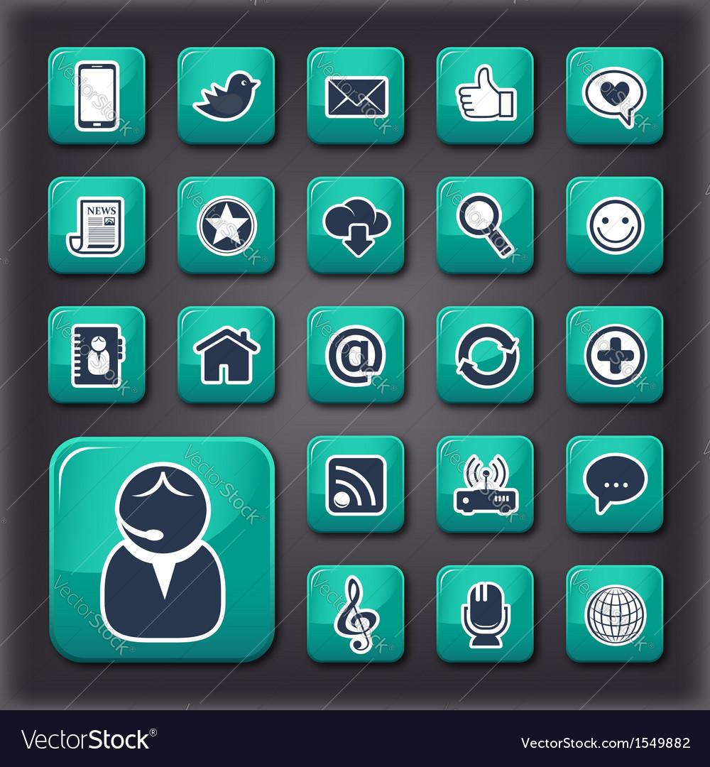 Internet communication universal buttons vector image