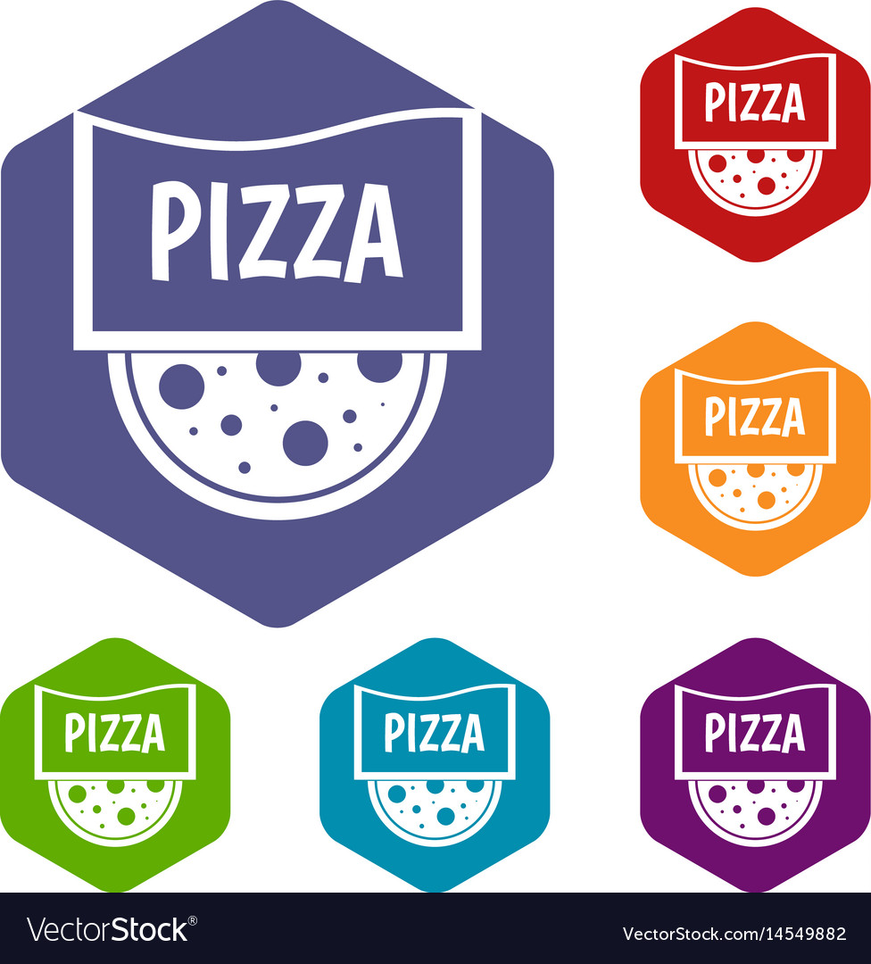 Pizza badge or signboard icons set hexagon