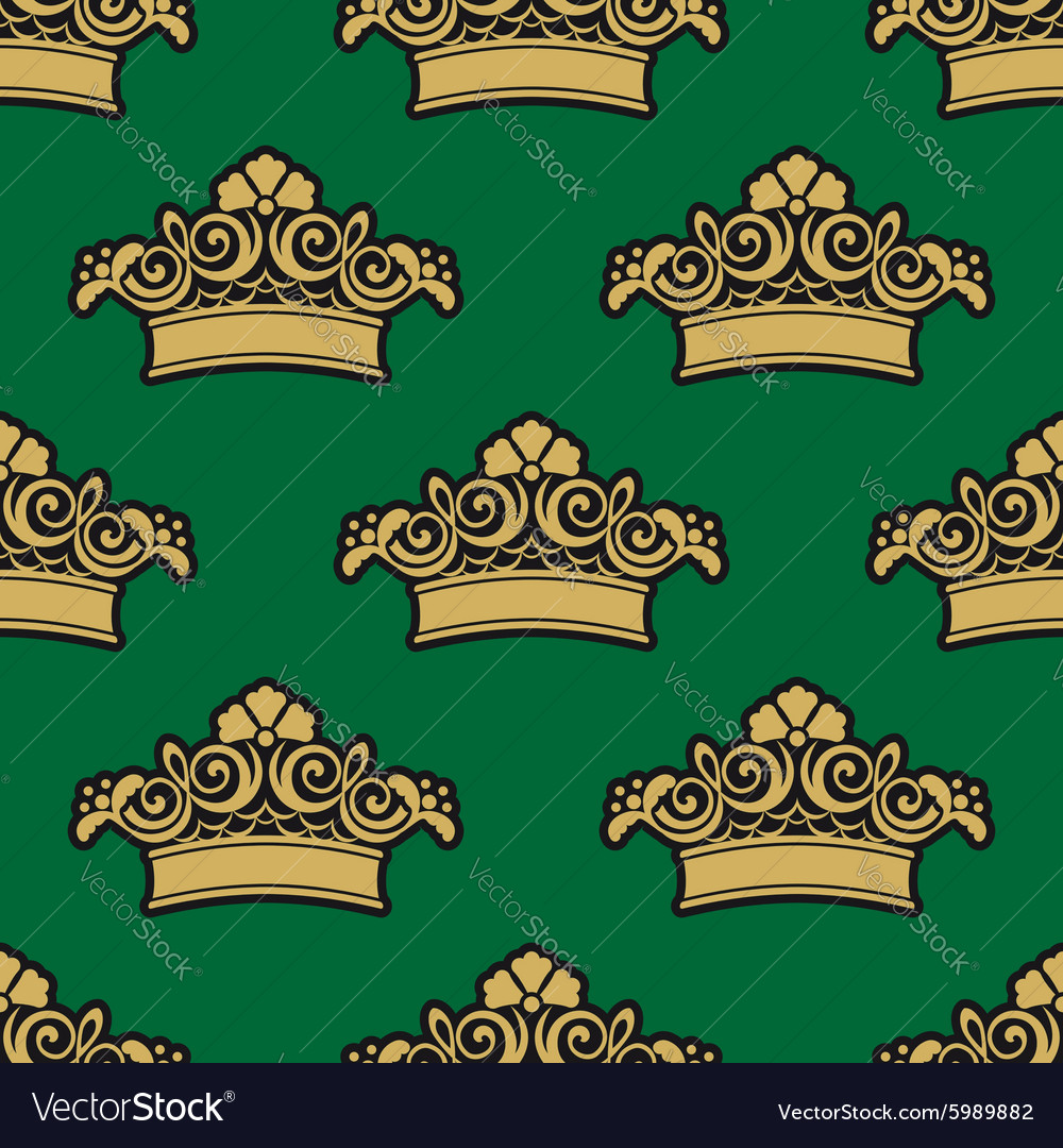 Seamless pattern with golden crowns