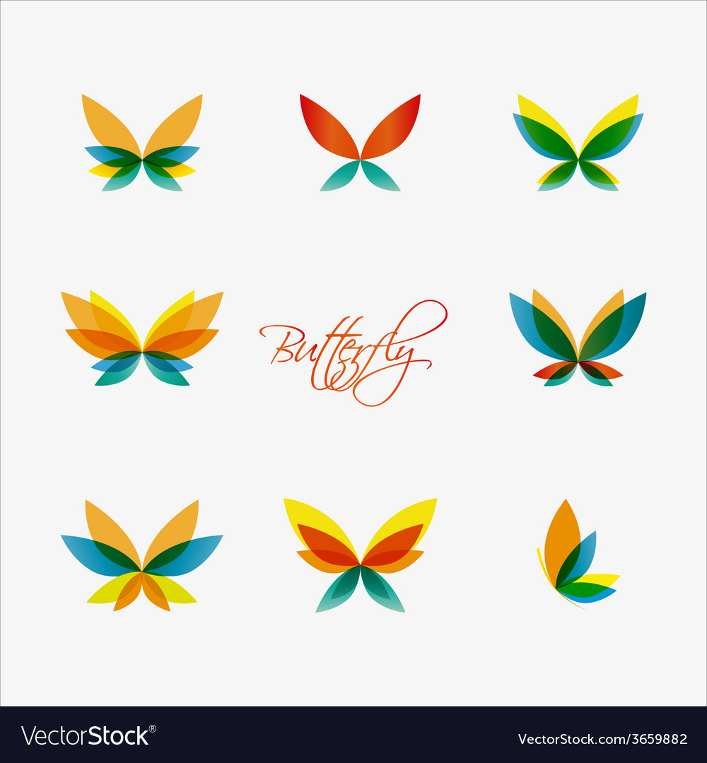 Set of colorful butterflies logos