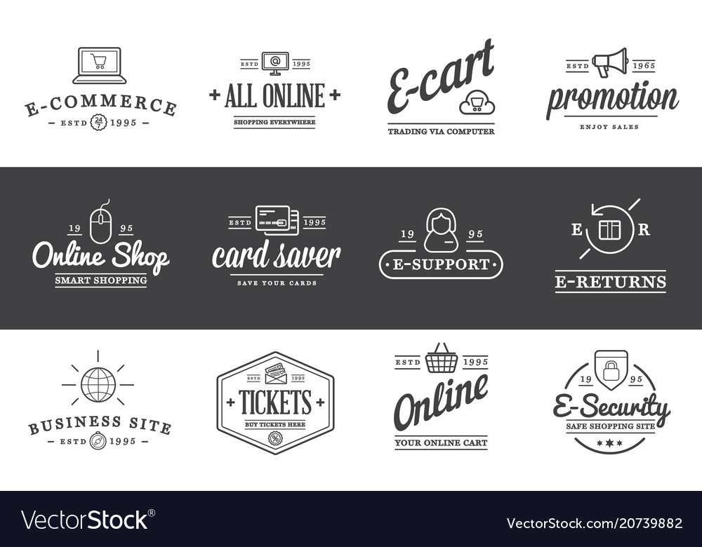 Set of e-commerce icons shopping and online can