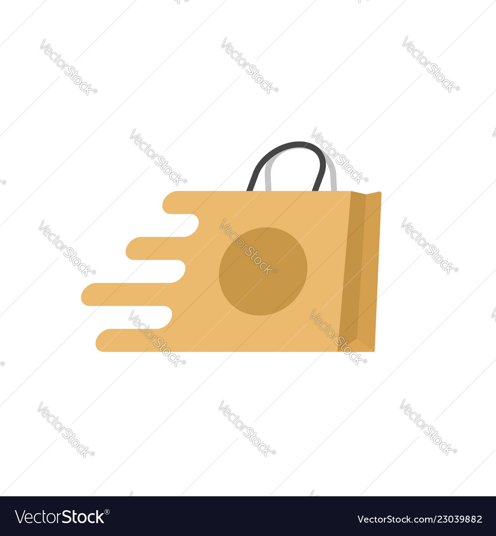 Shopping bag fast logo flat cartoon quick