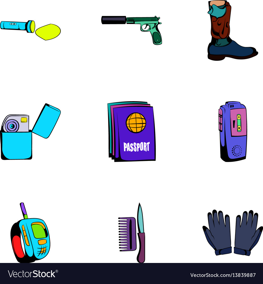 Anonym icons set cartoon style vector image