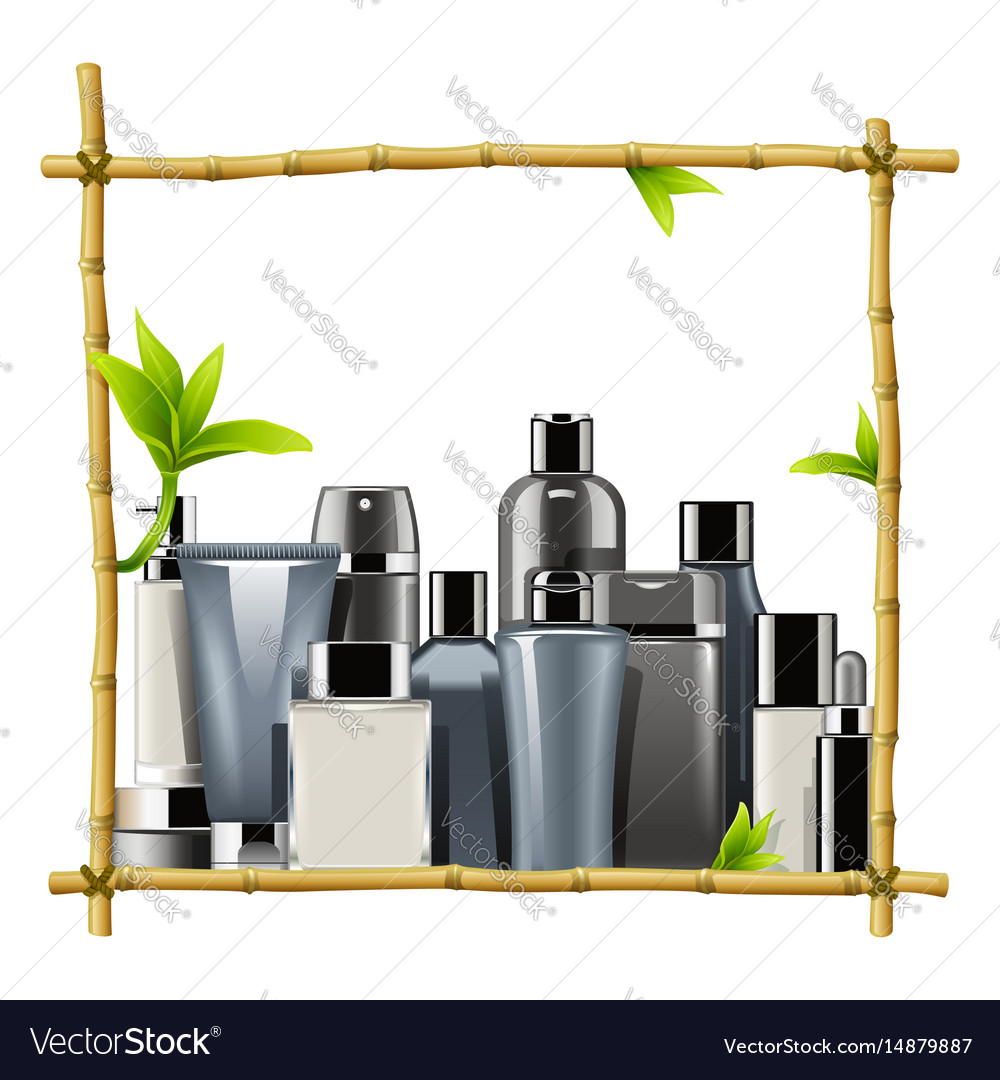 Bamboo frame with male cosmetics