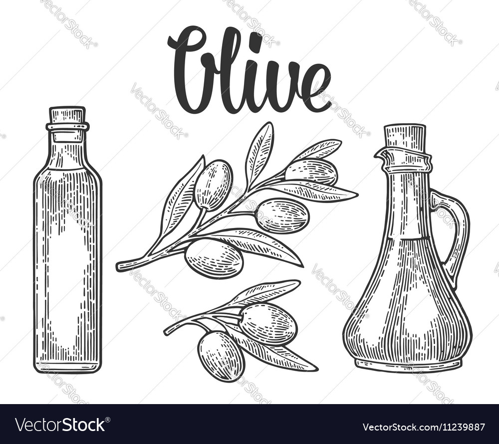 Bottle glass of Olive oil with cork stopper and