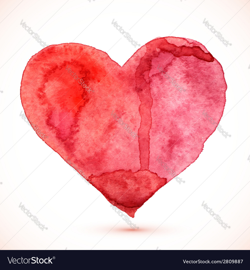 Bright red watercolor isolated heart