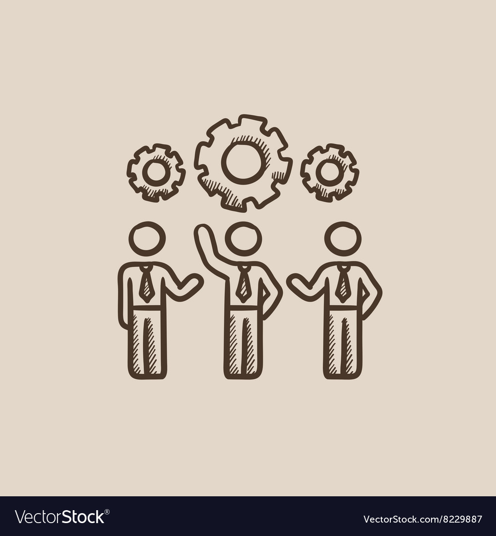 Businessmen under the gears sketch icon