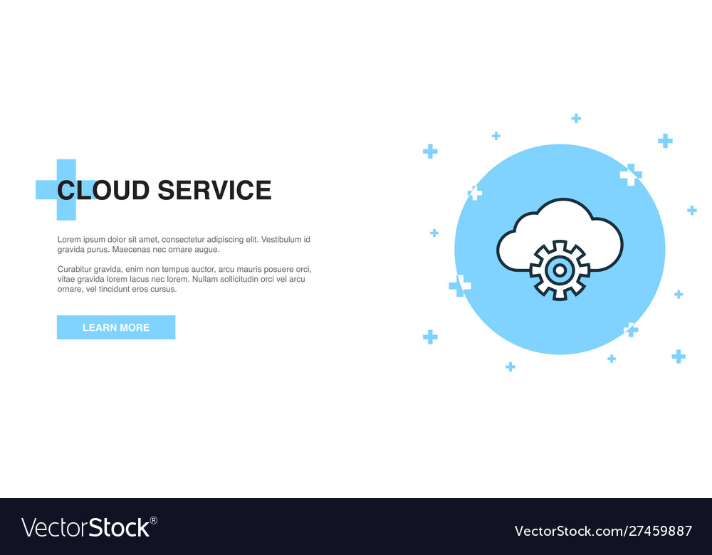 Cloud service icon banner outline template