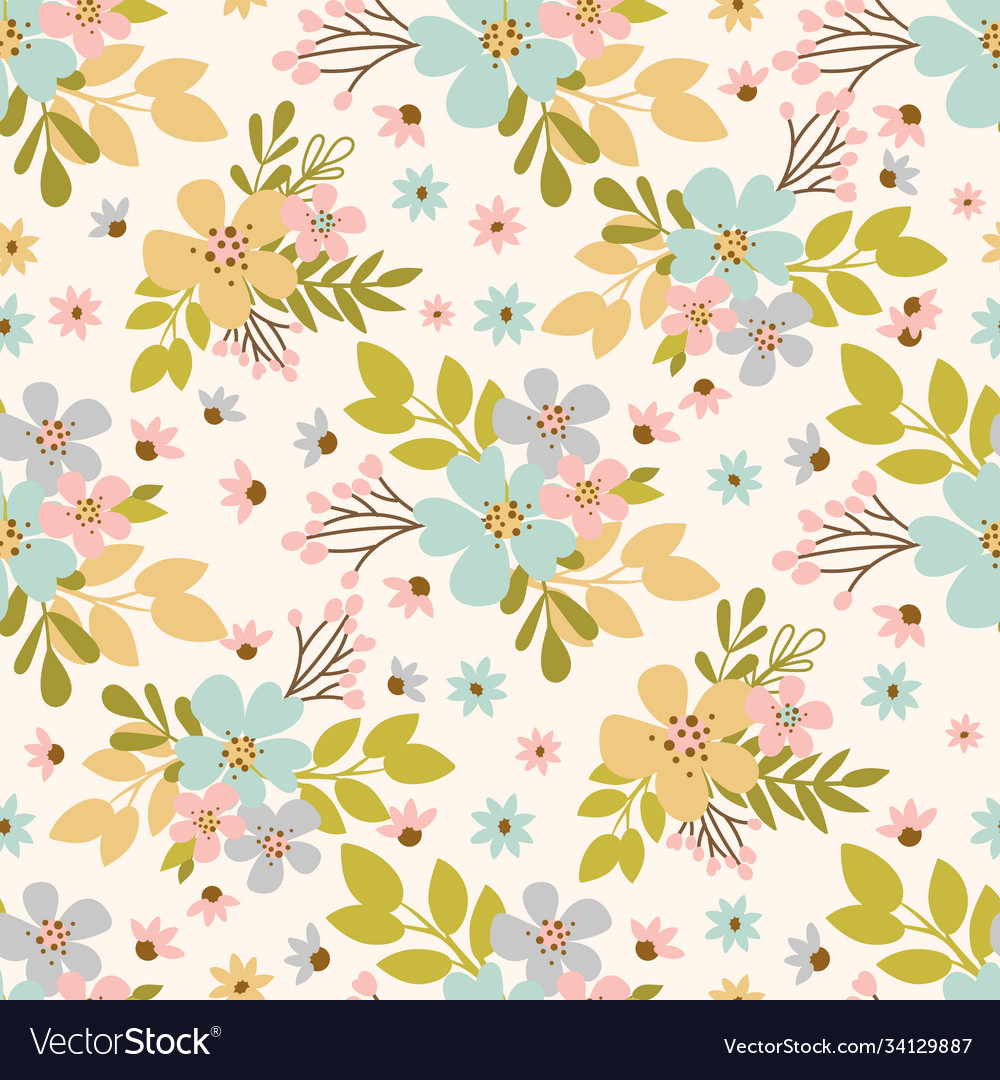Flower meadow hand drawn seamless pattern vector