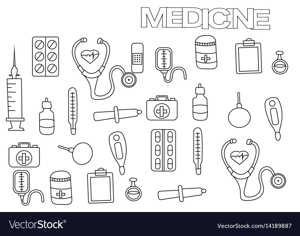 Hand drawn medicine set coloring book page vector image