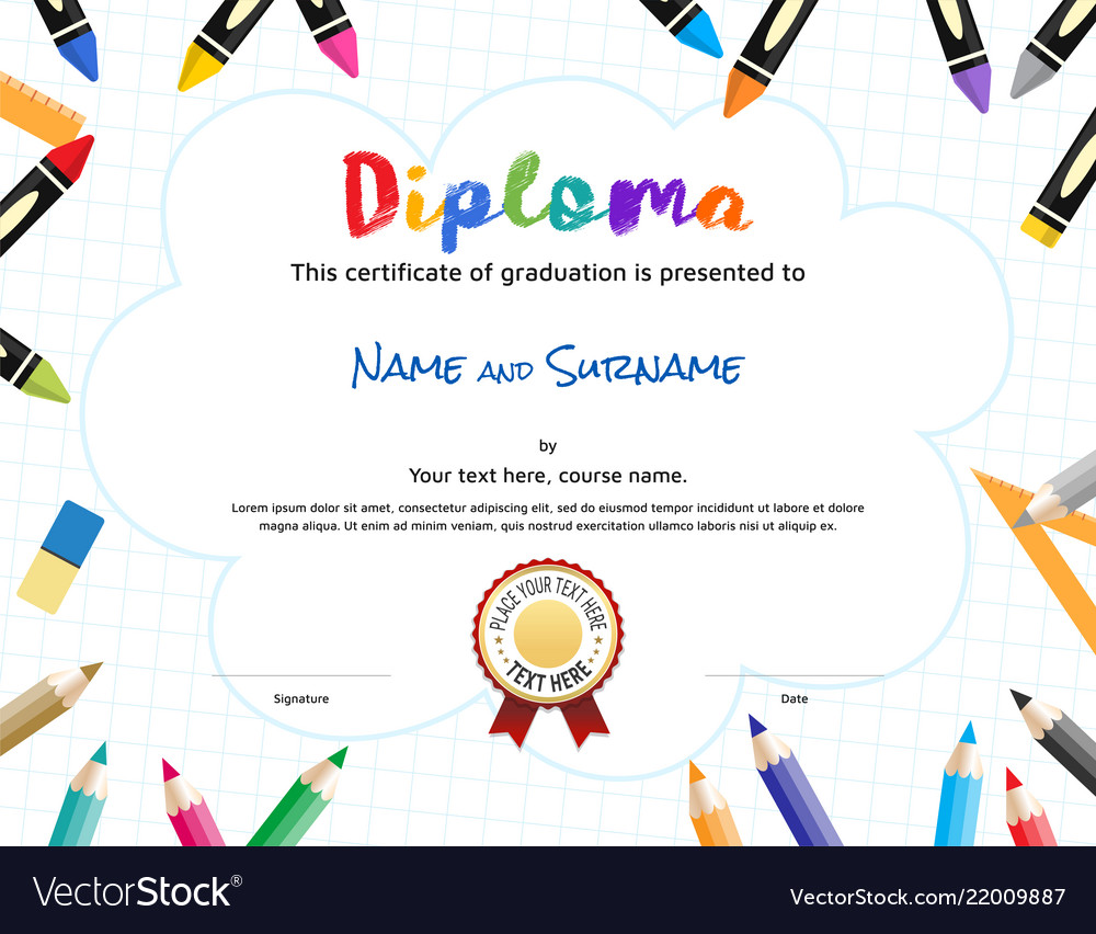 Certificate template with children in winter vector | free download.